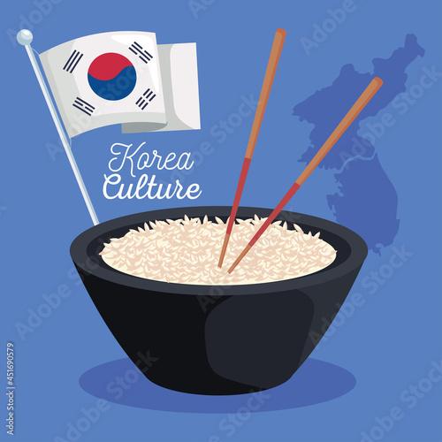 Fotografie, Obraz korean food and flag