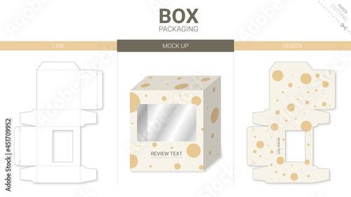 Fotografering Box packaging and mockup die cut template