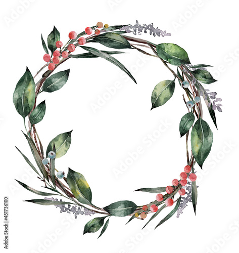 Fotografia Wreath of watercolor flowers and leaves