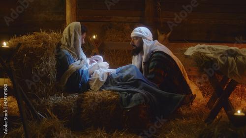 Obraz na plátně Joseph speaking with Mary after birth of Jesus