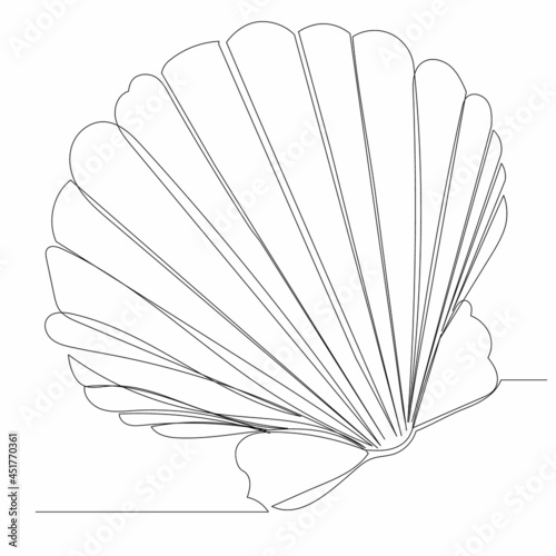 Leinwand Poster continuous line drawing seashell sketch