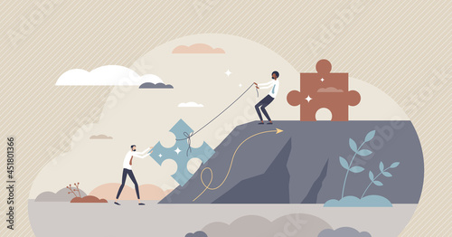 Wallpaper Mural Mentoring growth and leader support with motivation tiny person concept