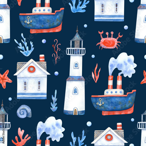 Fotografie, Obraz Watercolor seamless pattern with ships, crabs, starfish, sea houses, seaweeds and lighthouses on navy blue