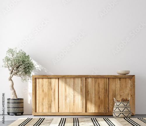 Fotografiet Minimalist home interior background ,Mid century modern style, 3d render