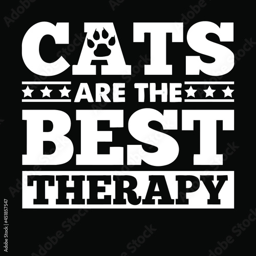 Fototapeta cats are the best therapy funny cute cat wo vector design illustration print wal