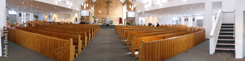 Canvas shot of religious Christian or catholic chapel and altar for worshippers