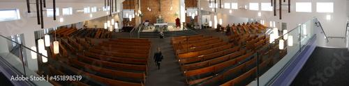 Obraz na płótnie shot of religious Christian or catholic chapel and altar for worshippers