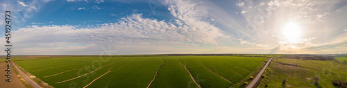 Fototapeta panoramic shot of soil erosion caused by water, aerial view of a green field at