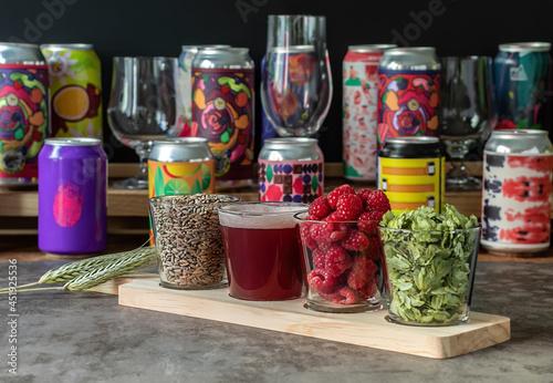 фотография Sour fruited raspberry IPA with ingredients