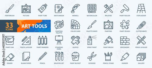 Fotografiet Paint art tools, design - thin line web icon set