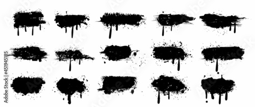 Fotografija Spray Paint Vector Elements isolated on White Background, Lines and Drips Black ink splatters, Ink blots set, text frame, Street style