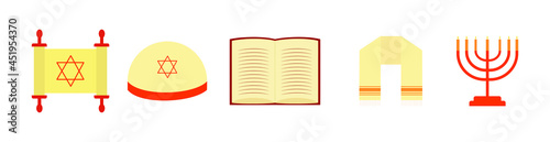 Fotografia Torah, Kippah, Book,Tallit, Menorah.Vector, illustration