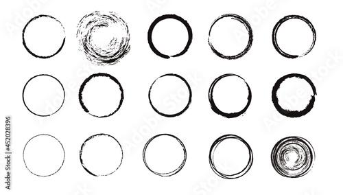 Fotografia 手書きの円、筆、丸のベクター素材セット