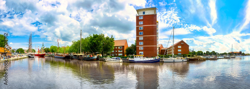 Fotografiet Harbor of Emden city , Lower Saxony, Germany