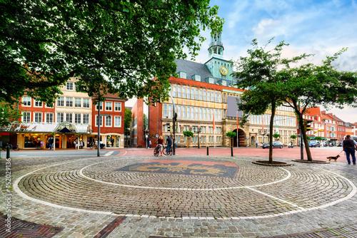Tela Town hall near the harbor in Emden, Lower Saxony, Germany
