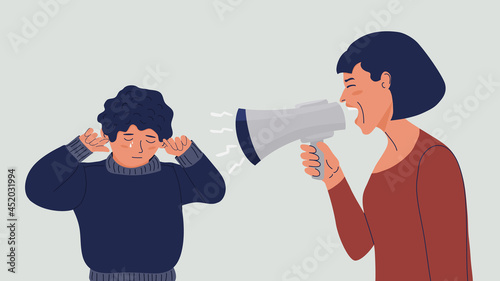 Fotografering Woman shouts at the child into a megaphone