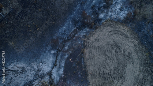 Canvas Print Woolsey Fire, Malibu California Post fire Burnt Mountains