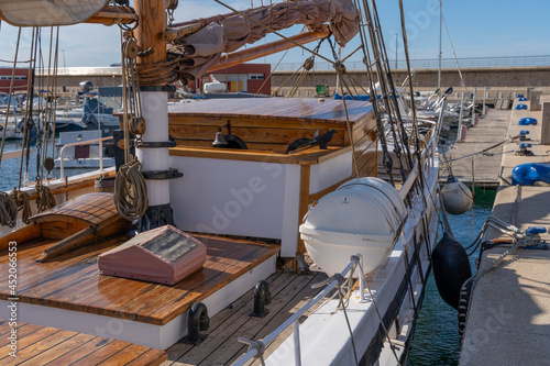 Obraz na plátně Moored nautical vessels at sea port San Antonio de Portmany, Balearic Islands, Ibiza, Spain