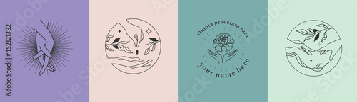 Tela A set of female hand logo templates, emblems