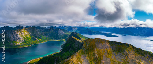 Fotografering Aerial panorama of the Husfjellet Mountain on Senja Island in northern Norway