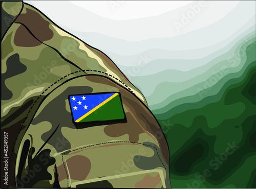 Flag Solomon Islands on soldier arm Fototapet