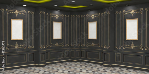 Photo 3d illustration foyer ballroom with pillar wall antique decoration carpet flooring and downlight blank empty frame for gallery photo