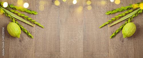 Fotografie, Obraz Jewish holiday Sukkot celebration background