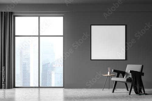 Fotografija Dark living room interior with white empty poster