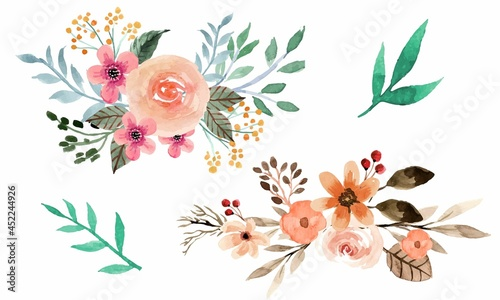 Assortment of watercolor leaves and flowers Free Vector #452244926