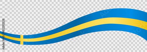 Fotografia, Obraz Waving flag of Sweden isolated  on png or transparent  background,Symbol of Swed