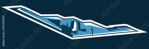 Fotografiet Modern times American Stealth Bomber jet icon vector illustration