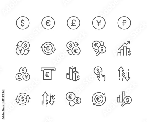 Billede på lærred Simple Set of Currency Related Vector Line Icons