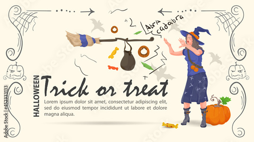 Fotografia A witch conjures sweets for the Halloween holiday flat illustration