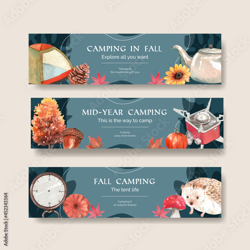 Fényképezés Banner template with autumn camping concept,watercolor style