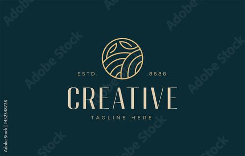 Fototapeta Hills leaves logo design