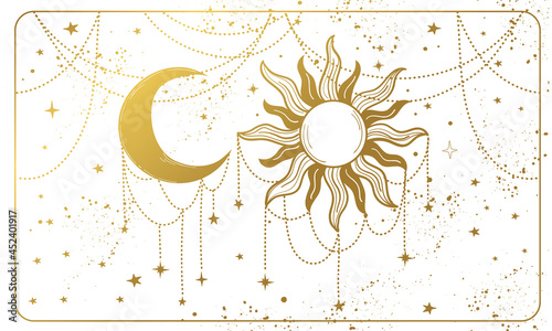 Tela Golden sun and ornate crescent moon on a white background