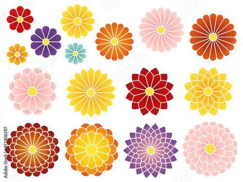Fotografering 和風の菊のアイコンセット