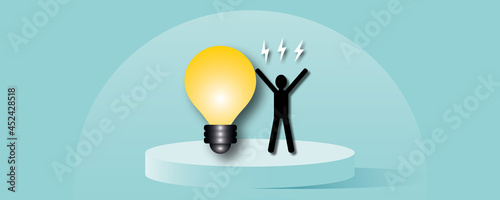 Canvas-taulu Man with light bulb with flash on pastel blue background as metaphor for Concept innovation thinking creative, Success inspiration, Business idea, paper cut design style