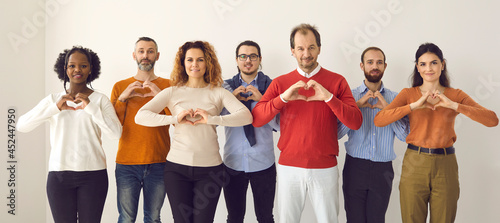Fotografija Studio group portrait of thankful youth and senior citizens sending you love, support and gratitude