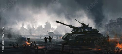 Fotografia Cruel war scenes, digital painting.