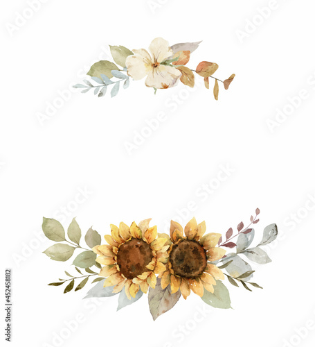 Watercolor vector autumn wreath with sunflower, leaves and branches. #452458182