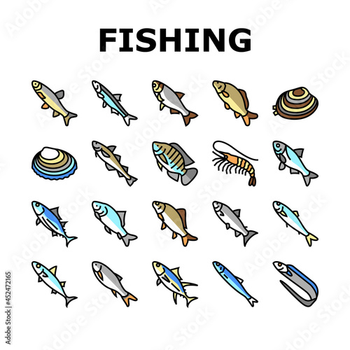 Fényképezés Commercial Fishing Aquaculture Icons Set Vector