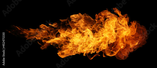 Fotografie, Obraz Fire and burning flame torch isolated on black background for graphic design