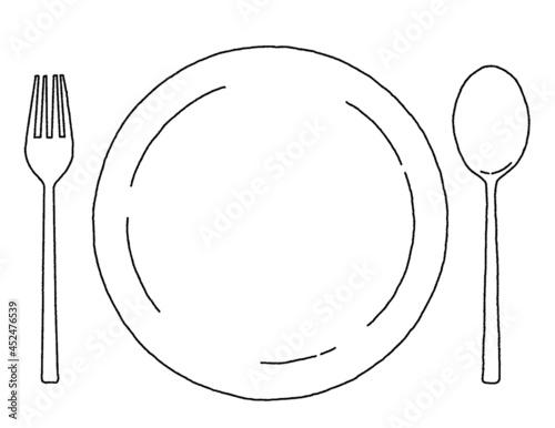 シンプルな白いお皿とナイフとフォークのイラストレーション Fototapet
