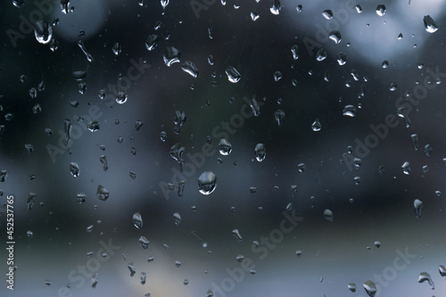 Canvas Wet glass covered with raindrops