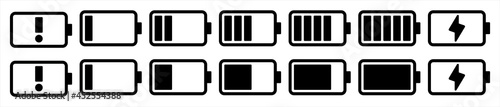 Fotografía Battery capacity charge icon symbols, Vector illustration
