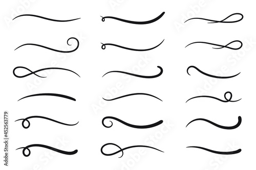 Fototapeta Hand drawn collection of curly swishes, swashes, swoops