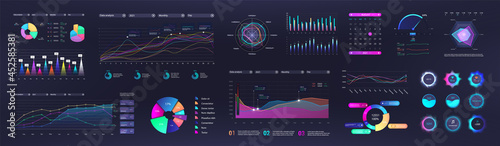 Obraz na plátně Graphic and charts for Business presentation