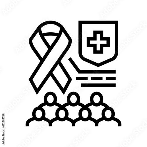 Fotografia aids social problem line icon vector