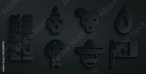 Fotografia, Obraz Set Mexican man sombrero, Avocado, skull, Mexico flag, Dog and Burning candle on icon